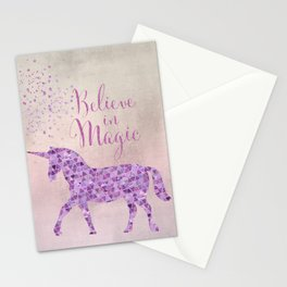Pink and Purple Glamour Unicorn Believe in Magic Stationery Cards