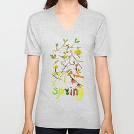 Spring pattern - branches, buds and flowers Unisex V-Neck