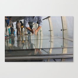 Not Afraid of the Glass Floor in Oriental Pearl Tower Canvas Print