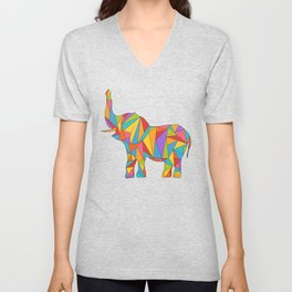 Big, bright, and colorful elephant - polychromatic animal Unisex V-Neck