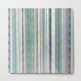 Sage coloured Stripes Metal Print