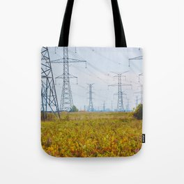 Landscape with power lines Tote Bag