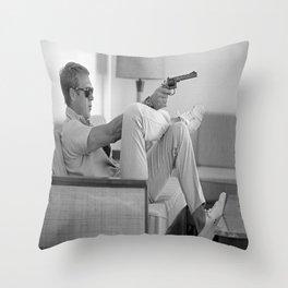 Steve Mcqueen with Gun Poster Canvas Print Art Decor Throw Pillow