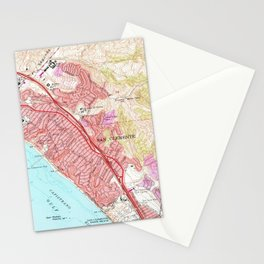 Vintage Map of San Clemente California (1968) Stationery Cards