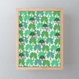 Fox hiding behind shamrocks Framed Mini Art Print