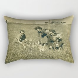 Picking flowers long ago Rectangular Pillow
