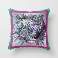 manchester Throw Pillows featuring Manchester whirl by Sabah