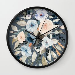 Loose Watercolor Bouquet on Blue Wall Clock