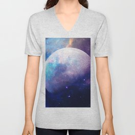 Galaxy Moon Space Unisex V-Neck