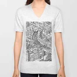 The Town of Train 2 Unisex V-Neck