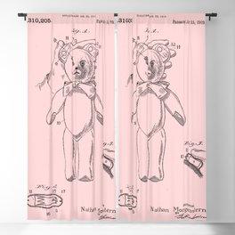 Teddy Bear Patent Pink Nursery Blackout Curtain
