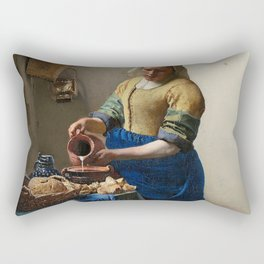 The Milkmaid Painting By Johannes Vermeer Rectangular Pillow