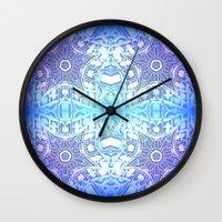frozen Wall Clocks featuring Frozen Stars Periwinkle Lavender Blue by 2sweet4words Designs