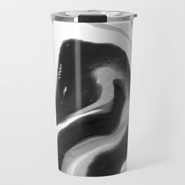 If On A Winter's Night A Traveller Goes to World's End, Marbling Black and White Cirle Travel Mug