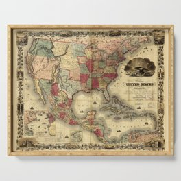 Map of the United States of America by G. Colton (1850) Serving Tray