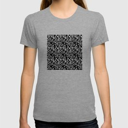 geometric decomposition in black T-shirt