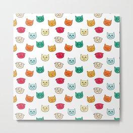 Cat heads in colors Metal Print