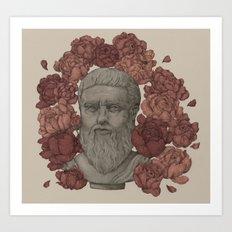 Plato in the Peonies Art Print
