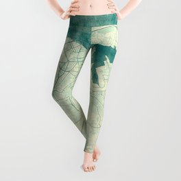 Havana Map Blue Vintage Leggings