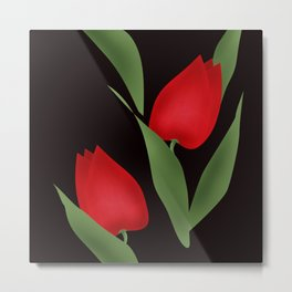 Tulips on black . Metal Print