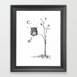 owl in the moonlight under the stars too big for his little tree Framed Art Print
