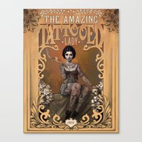 lady Canvas Prints featuring The Amazing Tattooed Lady by Rudy Faber
