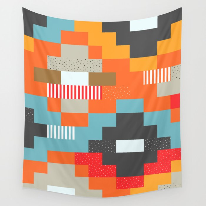Colorful rectangles with dots Wall Tapestry