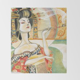 Klimt Oiran Throw Blanket