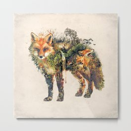 The Fox Nature Surrealism Metal Print