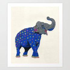 Fashion Animals, Spring 2014 Collection: Eléphant à Fleurs Art Print