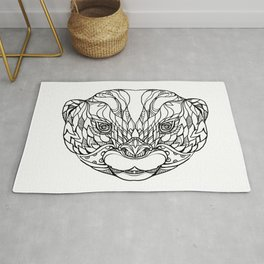 Oriental Small-clawed Otter Doodle Art Rug