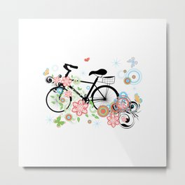 Bicycle and Colorful Floral Ornament Metal Print