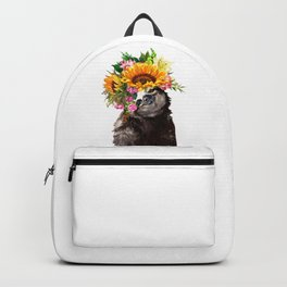 Sloth with Sunflower Crown Backpack