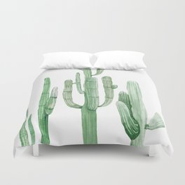 Three Amigos White + Green by Nature Magick Duvet Cover