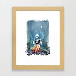 Skelly by the Campfire Framed Art Print