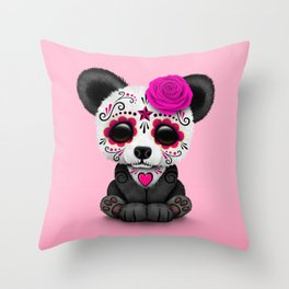 Pink Day of the Dead Sugar Skull Panda Throw Pillow