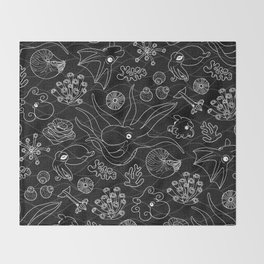 Cephalopods - Black and White Throw Blanket