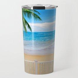 Balcony with a Beach Ocean View Travel Mug