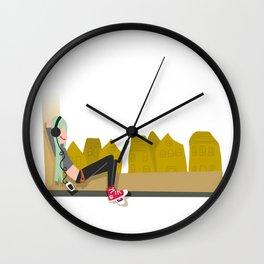 fashion hipster music illustration girl Wall Clock