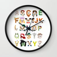 oz Wall Clocks featuring Oz-abet (an Oz Alphabet) by Mike Boon