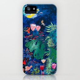 Brightly Rainbow Tropical Jungle Mural with Birds and Tiny Big Cats iPhone Case