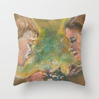 chess Throw Pillows featuring Chess by Spinning Daydreams