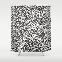 Black and white swirls doodles Shower Curtain