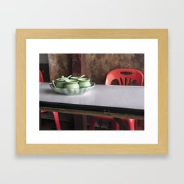 Red and Green Table and Chair Framed Art Print