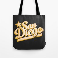 san diego Tote Bags featuring San Diego by GetSolidGold