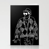 eddie vedder Stationery Cards featuring eddie by Panic Junkie