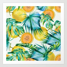 Leaf and melon pattern Art Print
