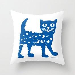 Navy blue cat pattern Throw Pillow