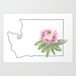 washington // watercolor rhododendron state flower map Art Print