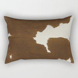 Dark Brown & White Cow Hide Rectangular Pillow